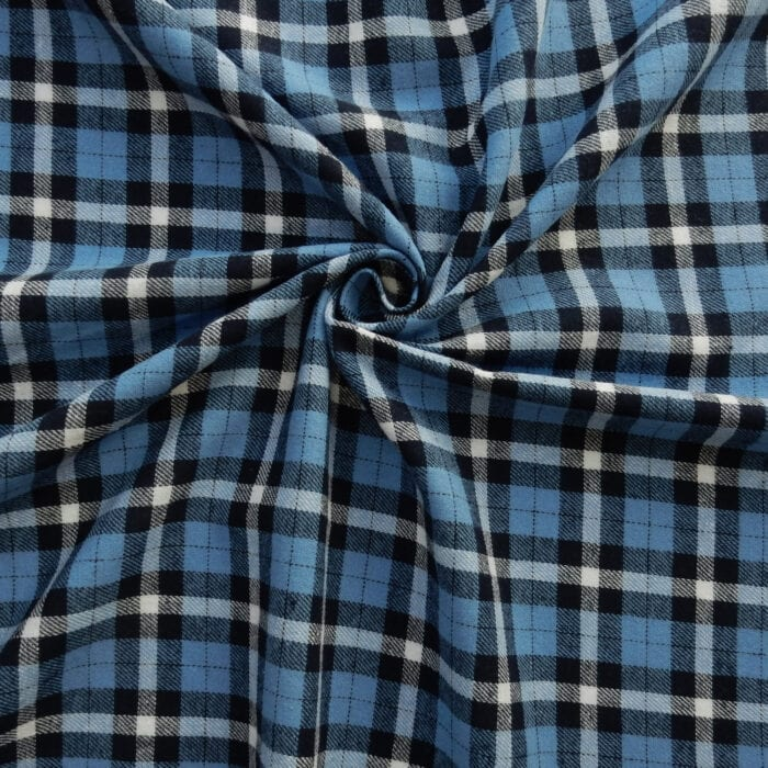 Flannel Yarn Dyed Plaid Fabric Brent Blue, by the yard
