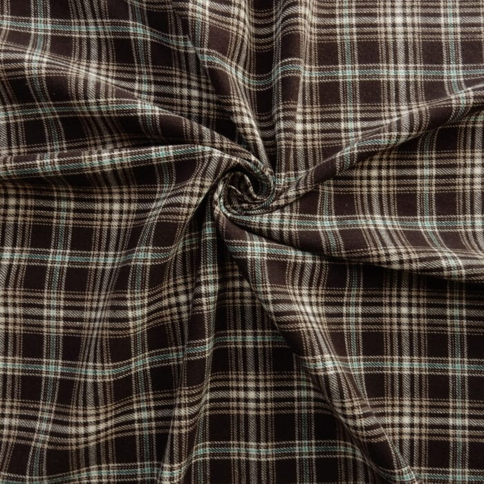 Flannel Yarn Dyed Plaid Fabric Chuck Cocoa, by the yard