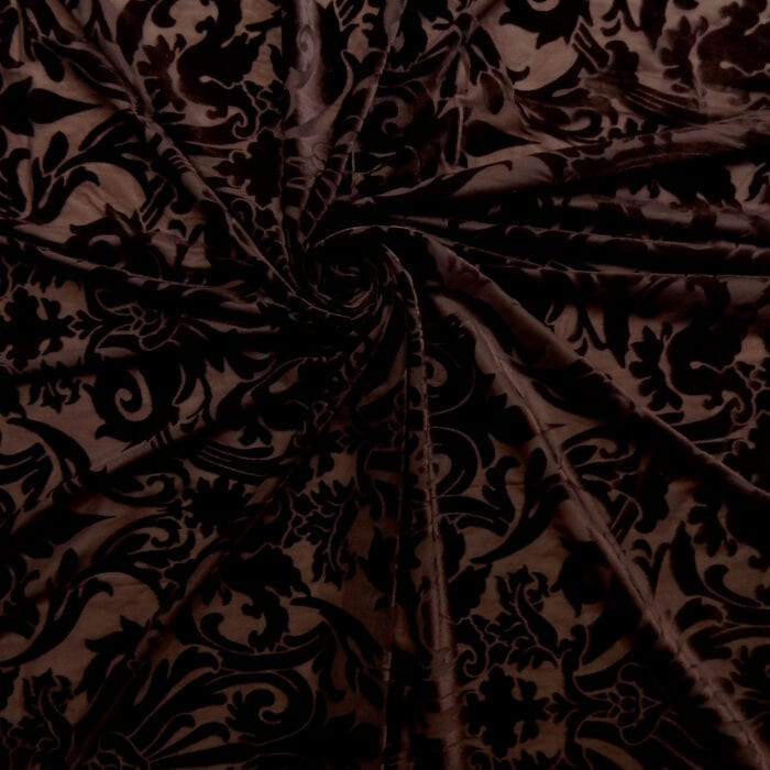 Stretch Burnout Velvet Fabric Brown, by the yard