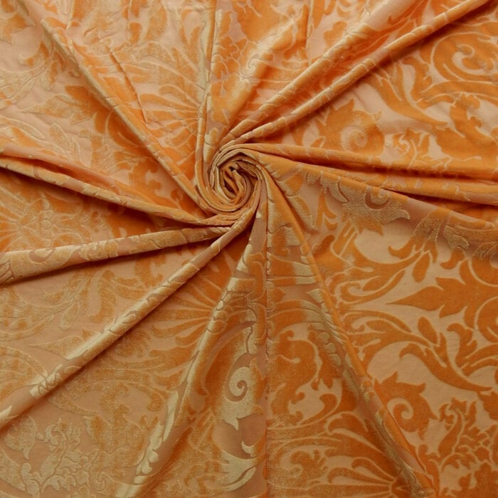 Stretch Burnout Velvet Fabric Gold, by the yard