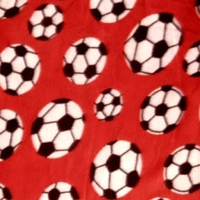 Fleece Print Soccer Ball Red, by the yard