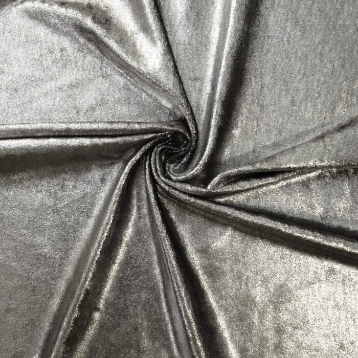 SALE Metallic Foil on Stretch Velvet Fabric 2018 Silver, by the yard