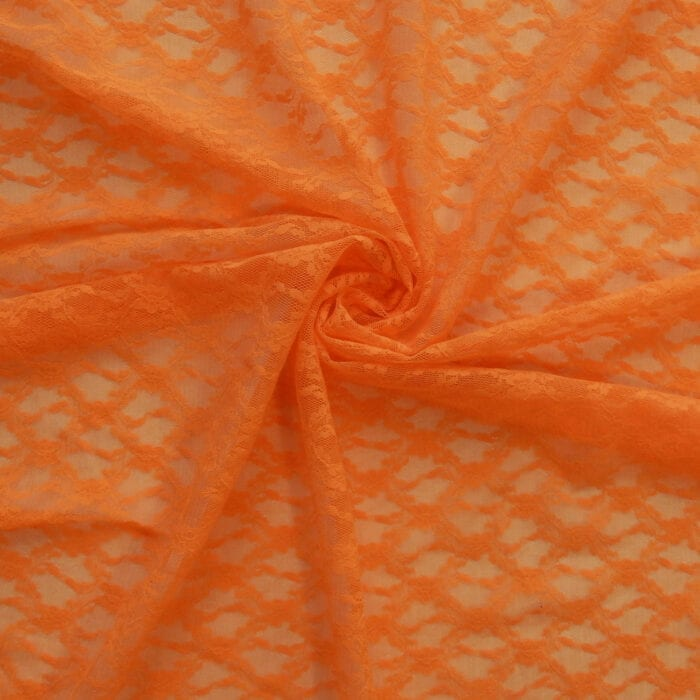 SALE Stretch Floral Lace Fabric 2302 Vibrant Orange, by the yard