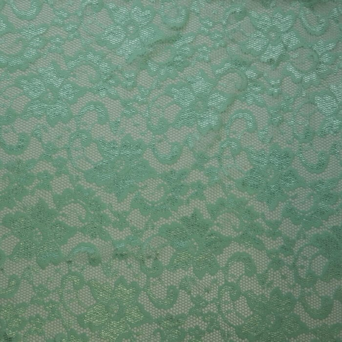 SALE Stretch Floral Lace Fabric 2306 Aqua, by the yard