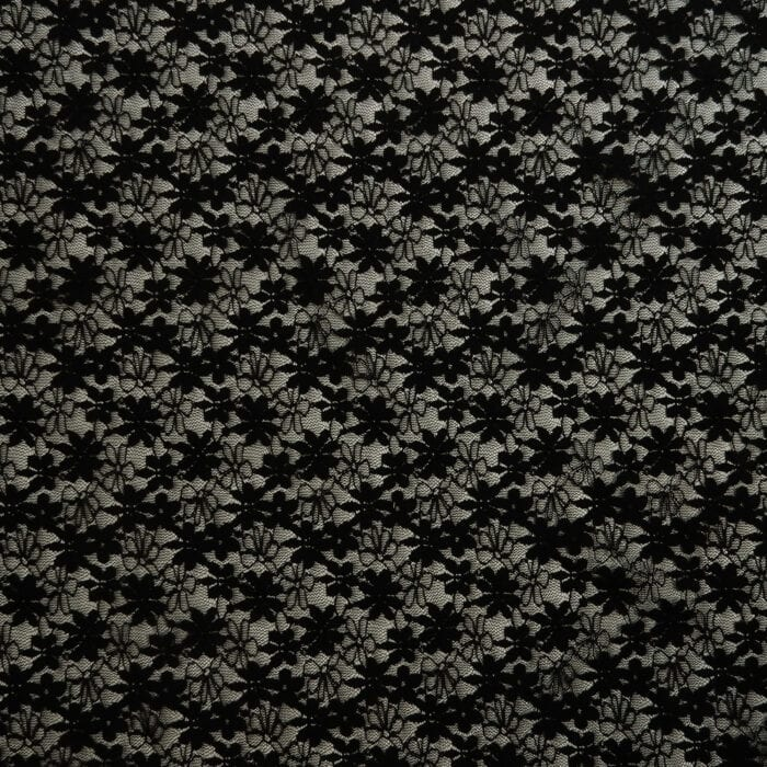 SALE Stretch Daisey Floral Lace Fabric 2317 Black, by the yard