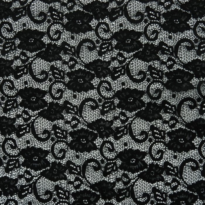 SALE Textured Stretch Floral Paisley Lace Fabric 2683 Black, by the yard