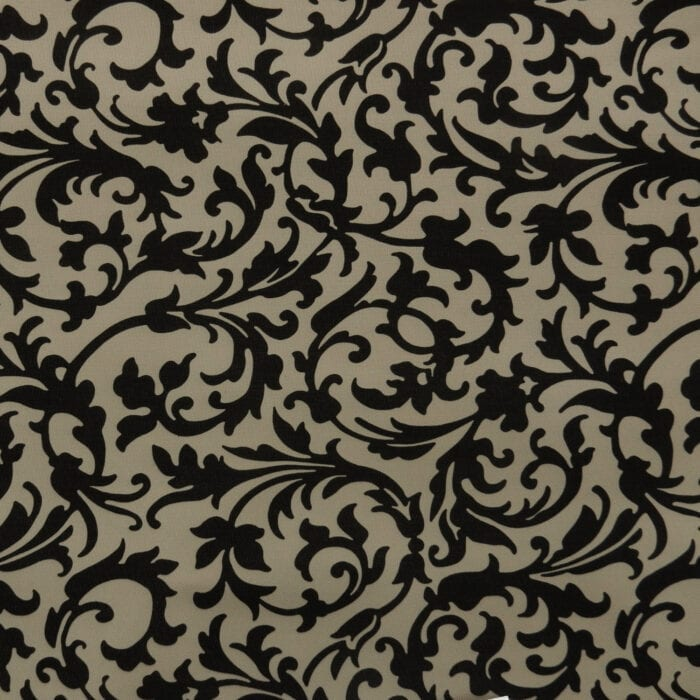 Sale Sunrise Water Resistant Canvas Fabric Floral Scroll Black, by the yard