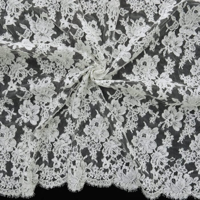 1.5 Yards French Bridal Chantilly Lace Fabric XS340 White/Silver