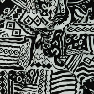 SALE Spandex Abstract Print 5104 Black/White, by the yard