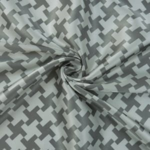 SALE Rayon Satin Houndstooth Print 5105 Silver, by the yard